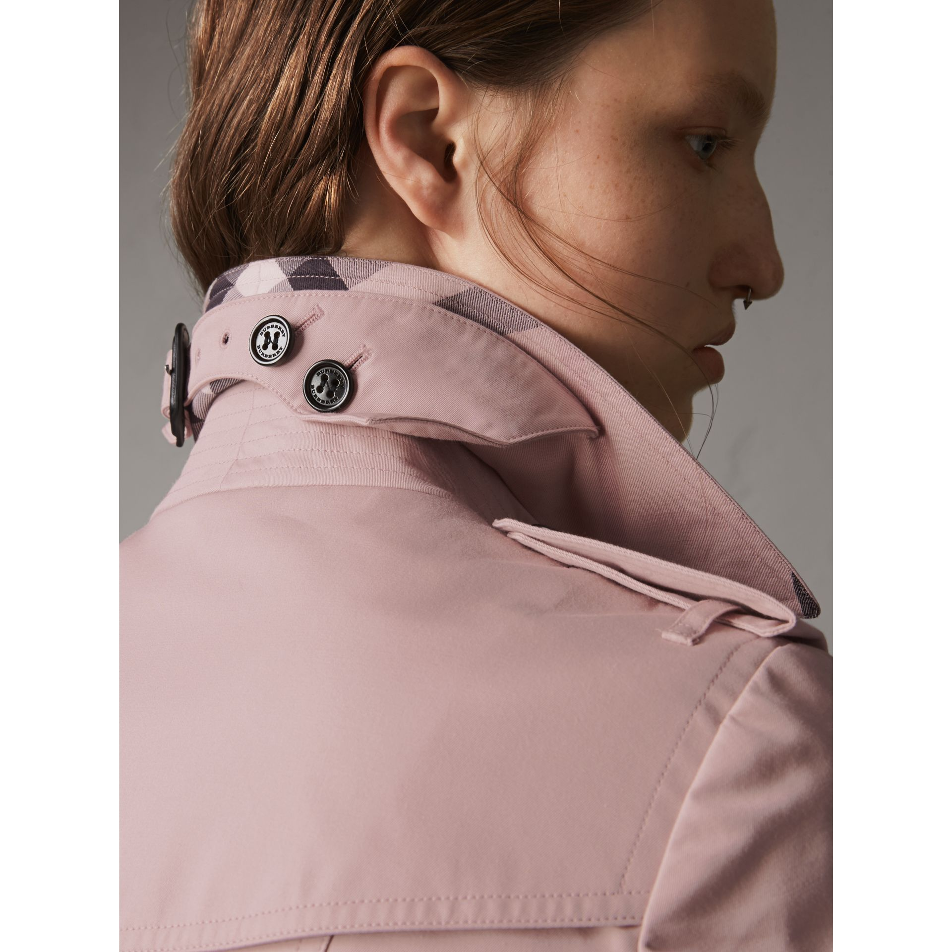 Cotton Gabardine Mid-length Trench Coat in Ice Pink - Women | Burberry Singapore - gallery image 2