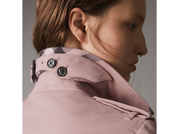 Cotton Gabardine Mid-length Trench Coat in Ice Pink - Women | Burberry - cell image 1