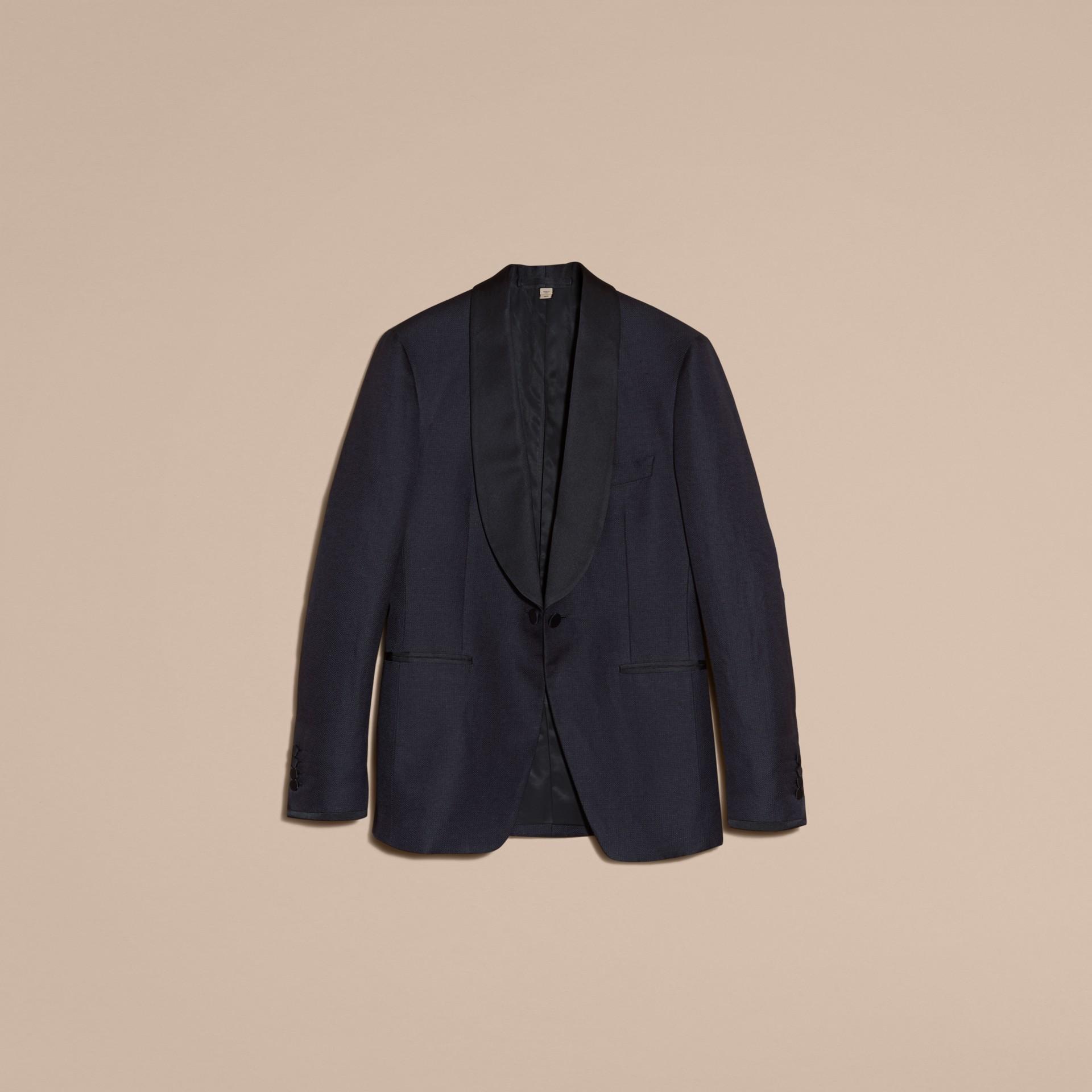Slim Fit Shawl Lapel Linen Silk Evening Jacket Navy - gallery image 4