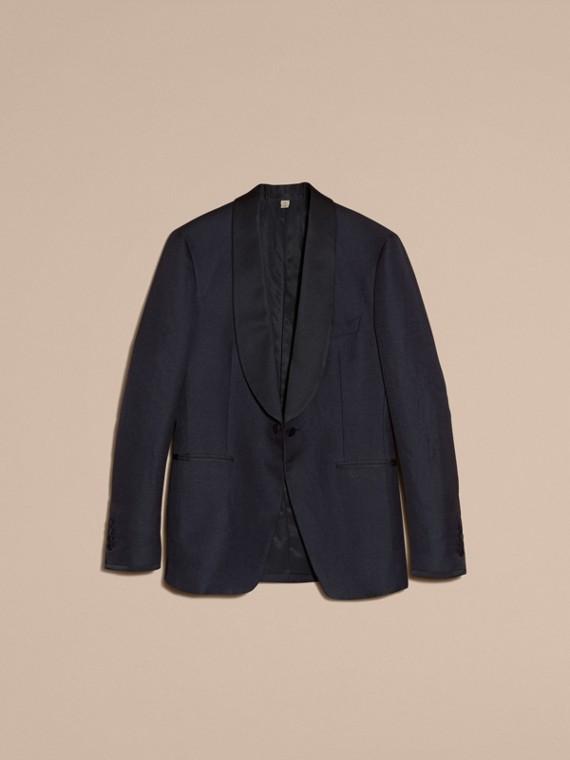 Slim Fit Shawl Lapel Linen Silk Evening Jacket Navy - cell image 3
