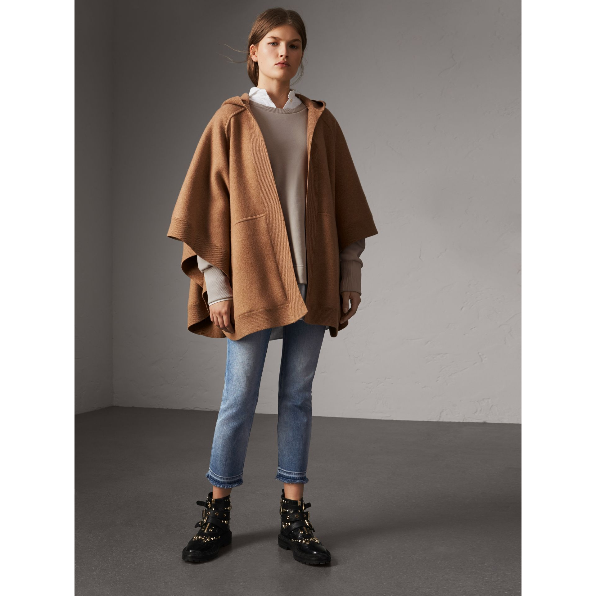 Wool Cashmere Blend Hooded Poncho in Camel - Women | Burberry United Kingdom - gallery image 1