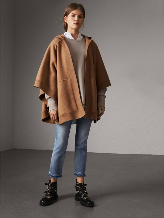 Wool Cashmere Blend Hooded Poncho in Camel