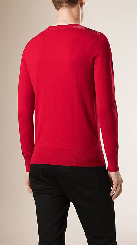 Military red Check Detail Cotton Cashmere Sweater - Image 2