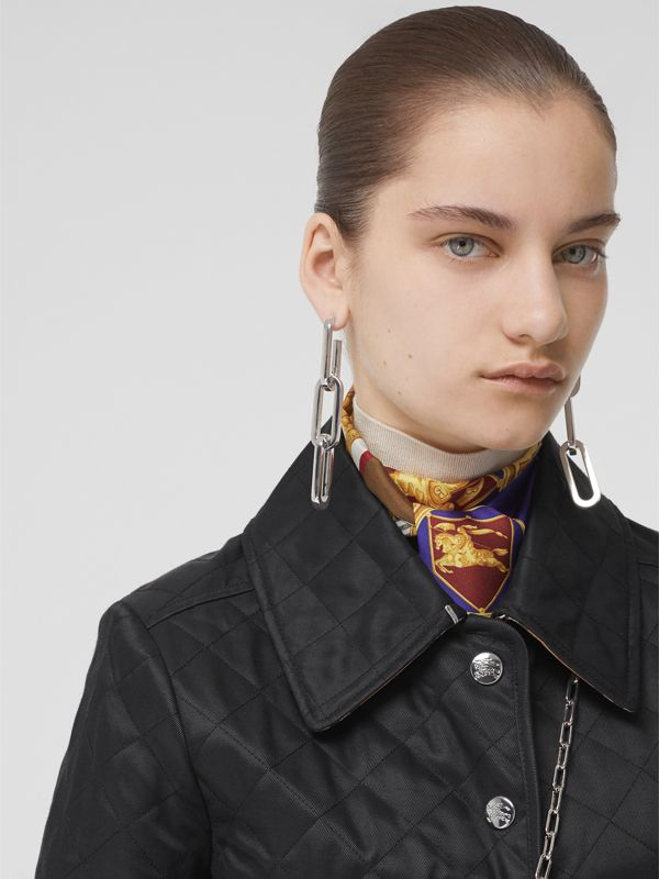 Palladium-plated Link Drop Earrings in Palladio - Women | Burberry United Kingdom - cell image 2