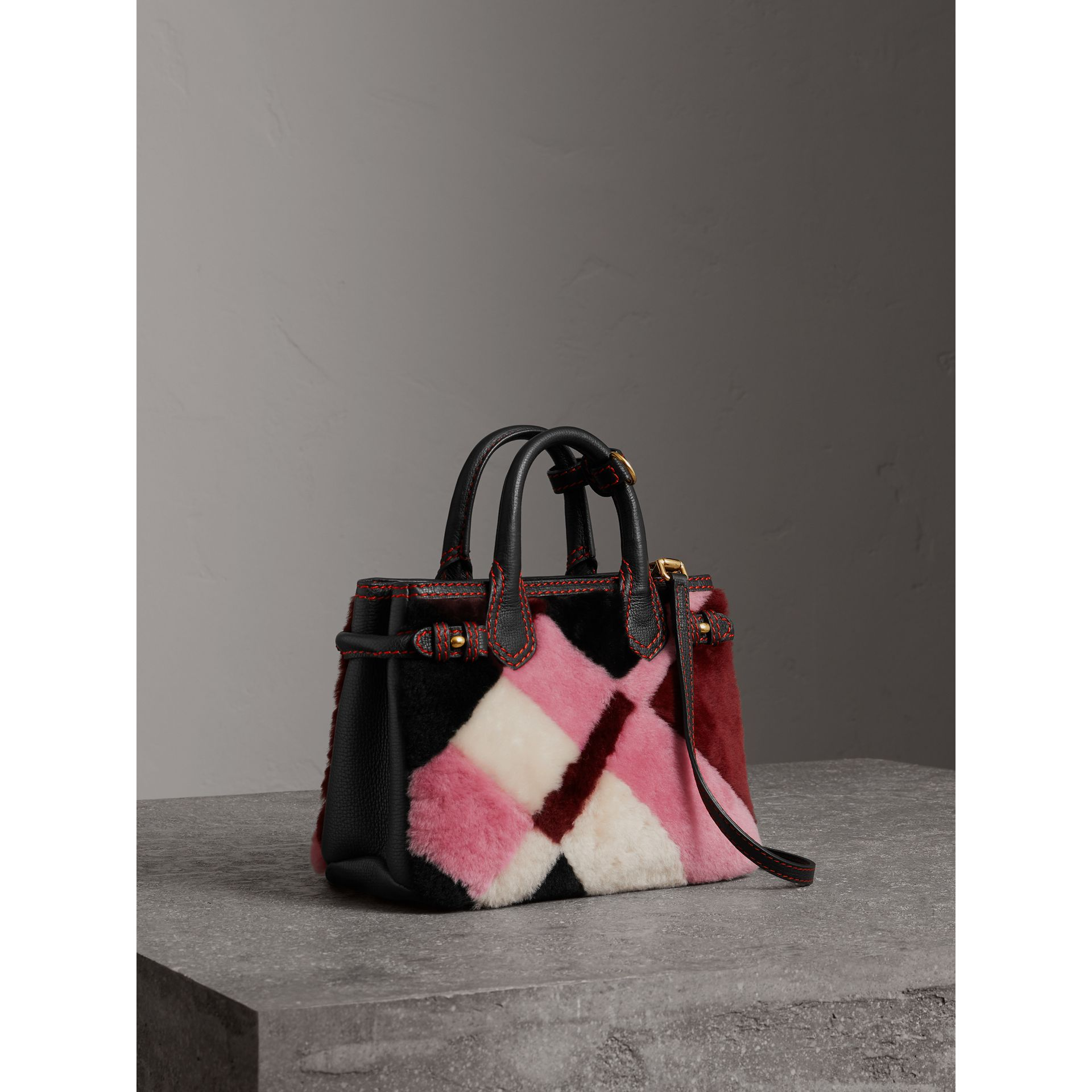 The Baby Banner in Patchwork Check Shearling and Leather in Pink - Women | Burberry Australia - gallery image 1