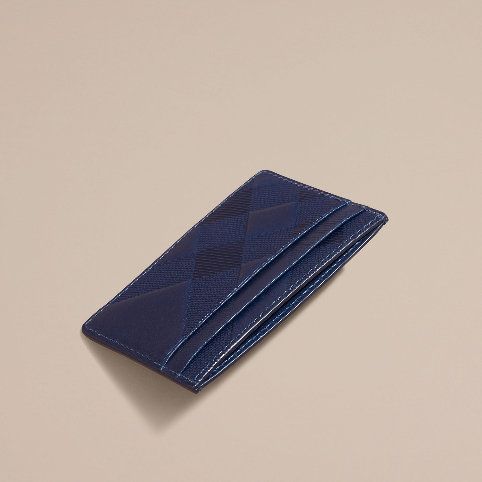 Lapis blue Check Embossed Leather Card Case Lapis Blue - gallery image 4