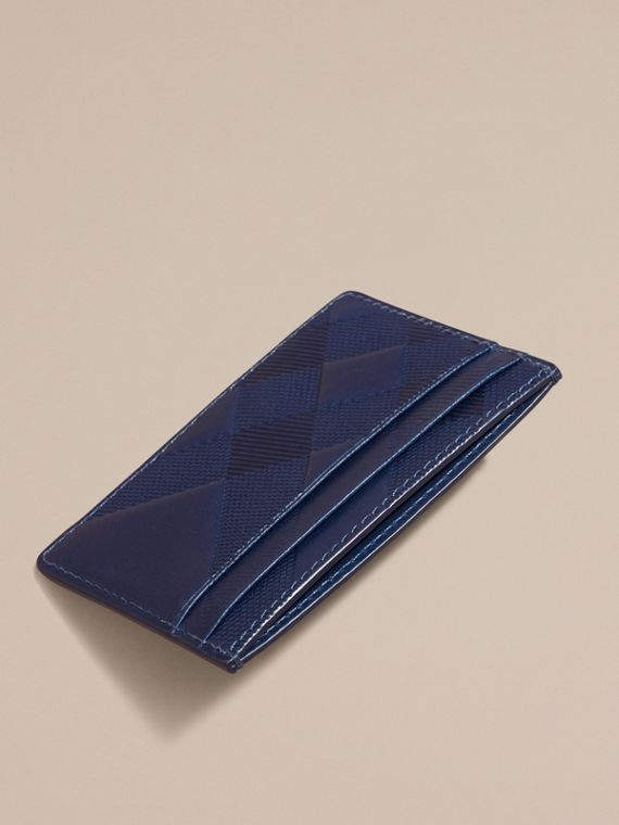 Lapis blue Check Embossed Leather Card Case Lapis Blue - cell image 3
