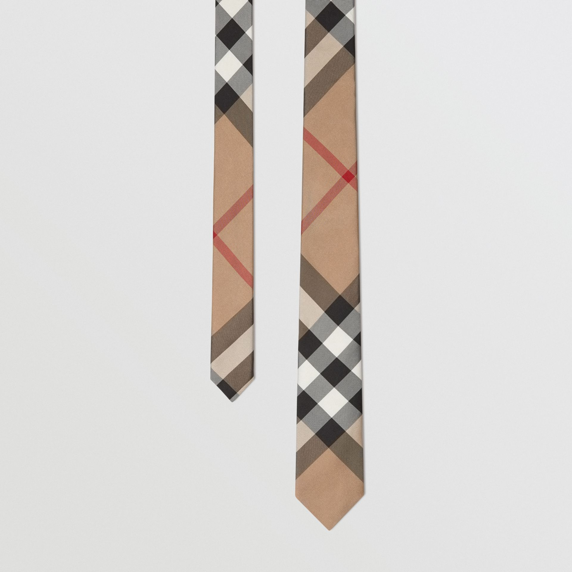 Modern Cut Check Silk Tie in Camel - Men | Burberry United Kingdom - gallery image 0