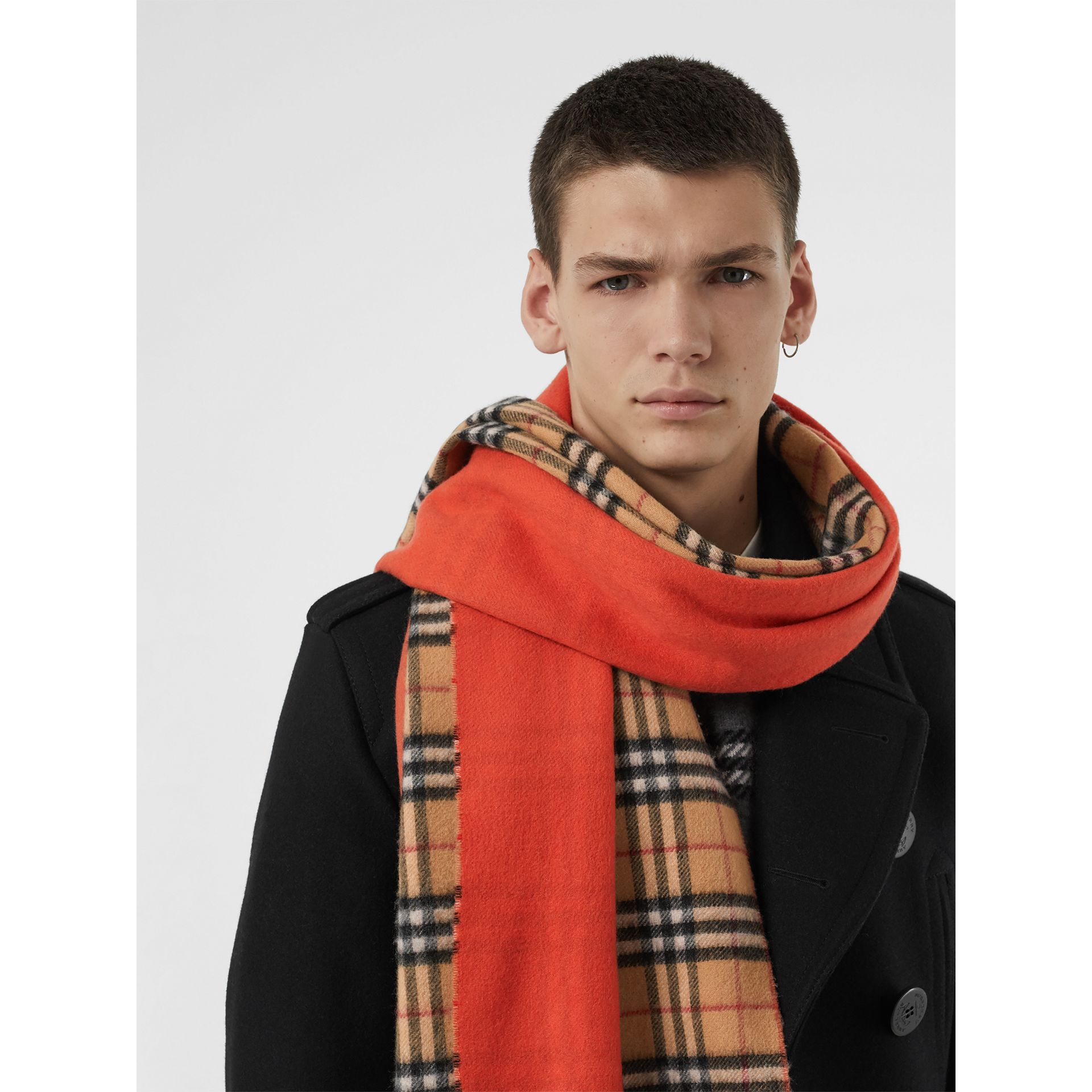 Colour Block Vintage Check Cashmere Scarf in Vibrant Orange | Burberry United Kingdom - gallery image 6