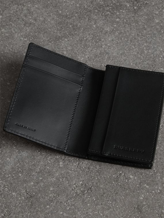Grainy Leather Folding Card Case in Black | Burberry - cell image 3