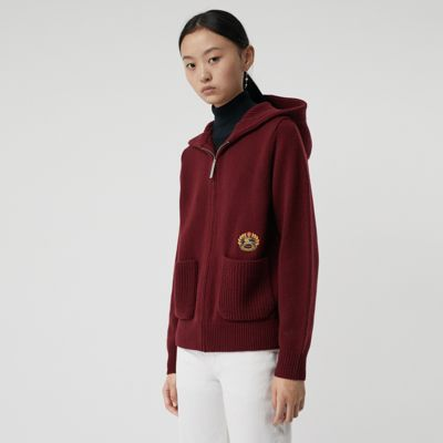 Embroidered Archive Logo Cashmere Hooded Top by Burberry