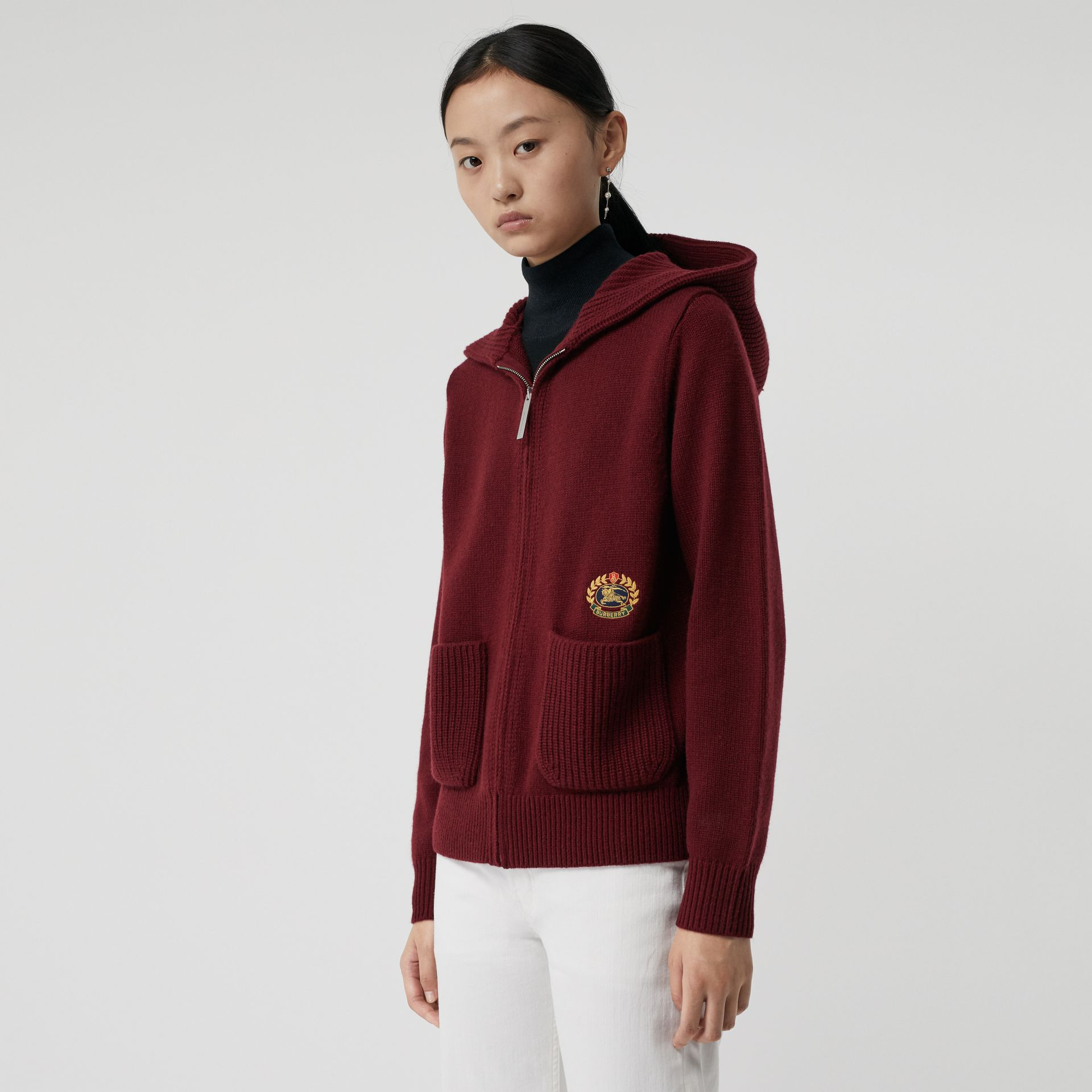 Embroidered Archive Logo Cashmere Hooded Top in Crimson - Women | Burberry - gallery image 0
