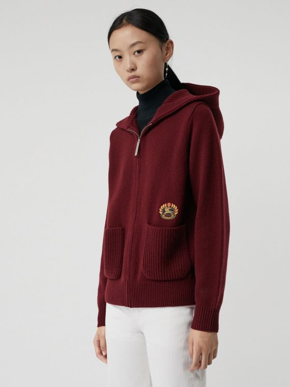 Embroidered Crest Cashmere Hooded Top in Crimson