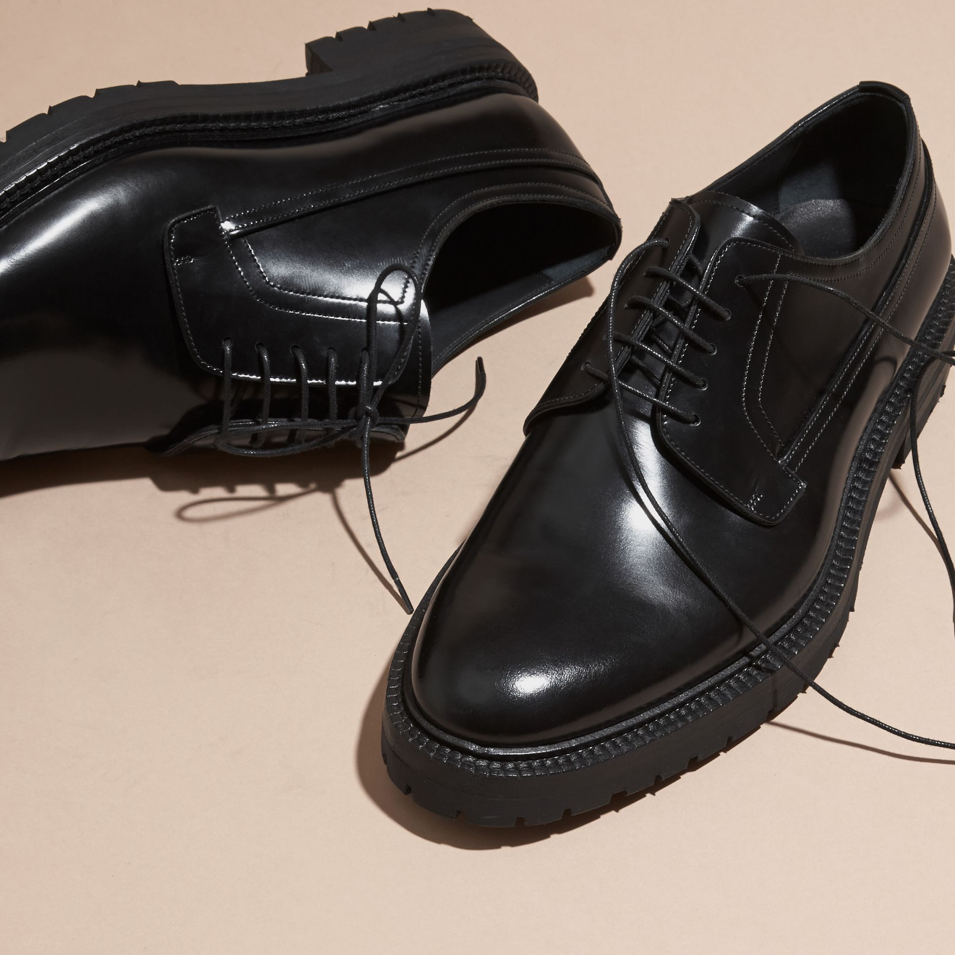 Black Leather Derby Shoes - gallery image 2