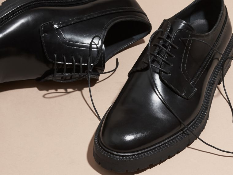 Black Leather Derby Shoes - cell image 1