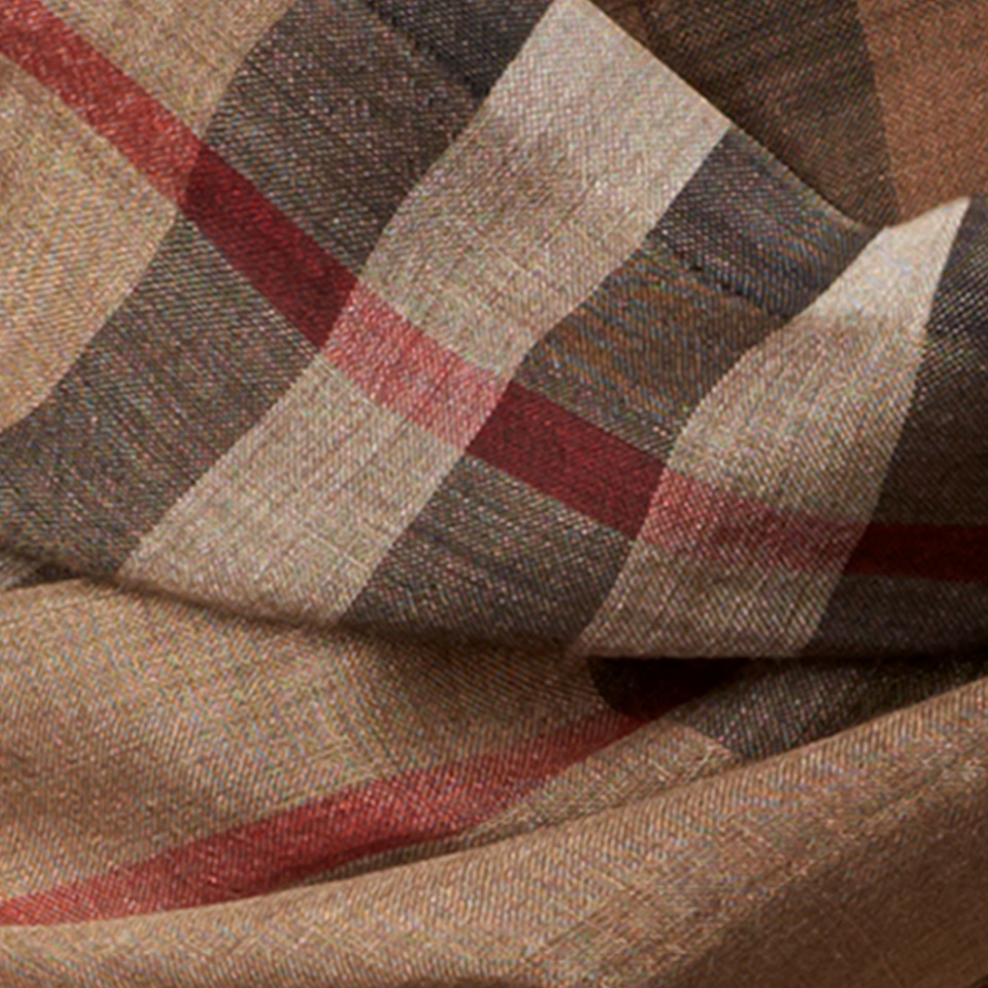 Camel check Ombré Check Lightweight Wool Silk Scarf - gallery image 2