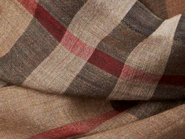 Camel check Ombré Check Lightweight Wool Silk Scarf - cell image 1