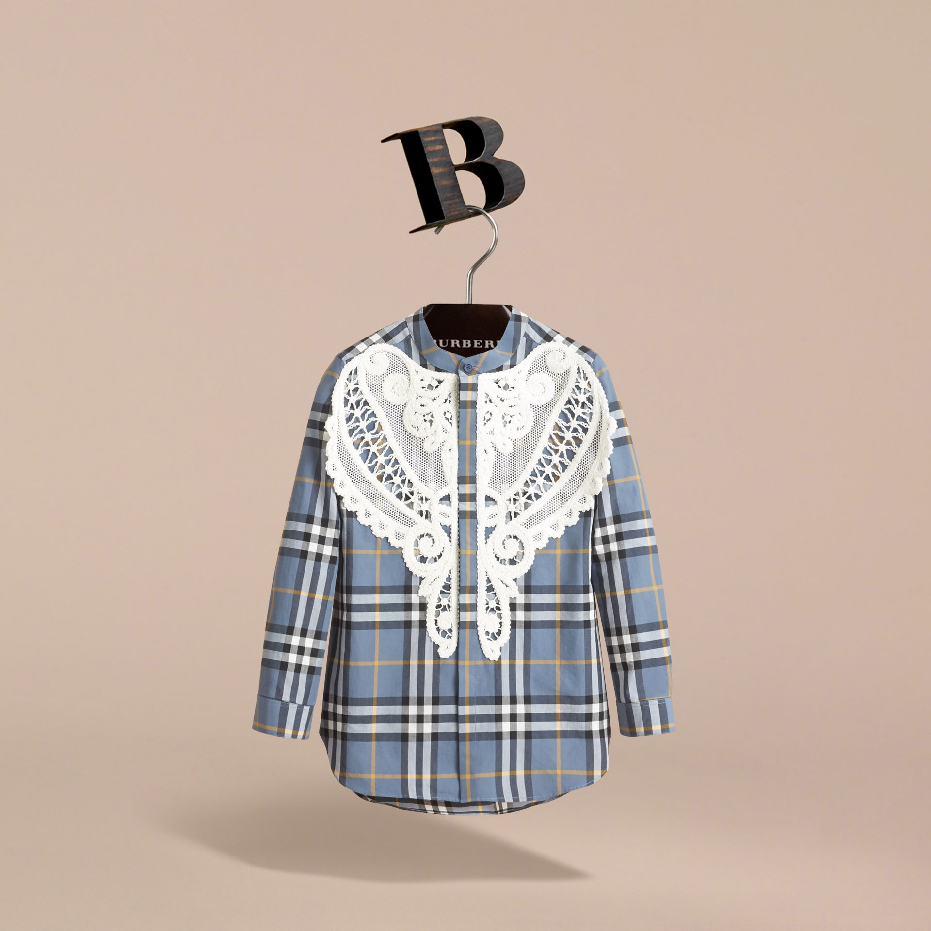 Unisex Lace Appliqué Check Cotton Shirt in Pewter Blue - Boy | Burberry - gallery image 3