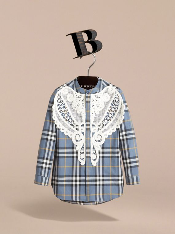 Unisex Lace Appliqué Check Cotton Shirt in Pewter Blue | Burberry - cell image 2