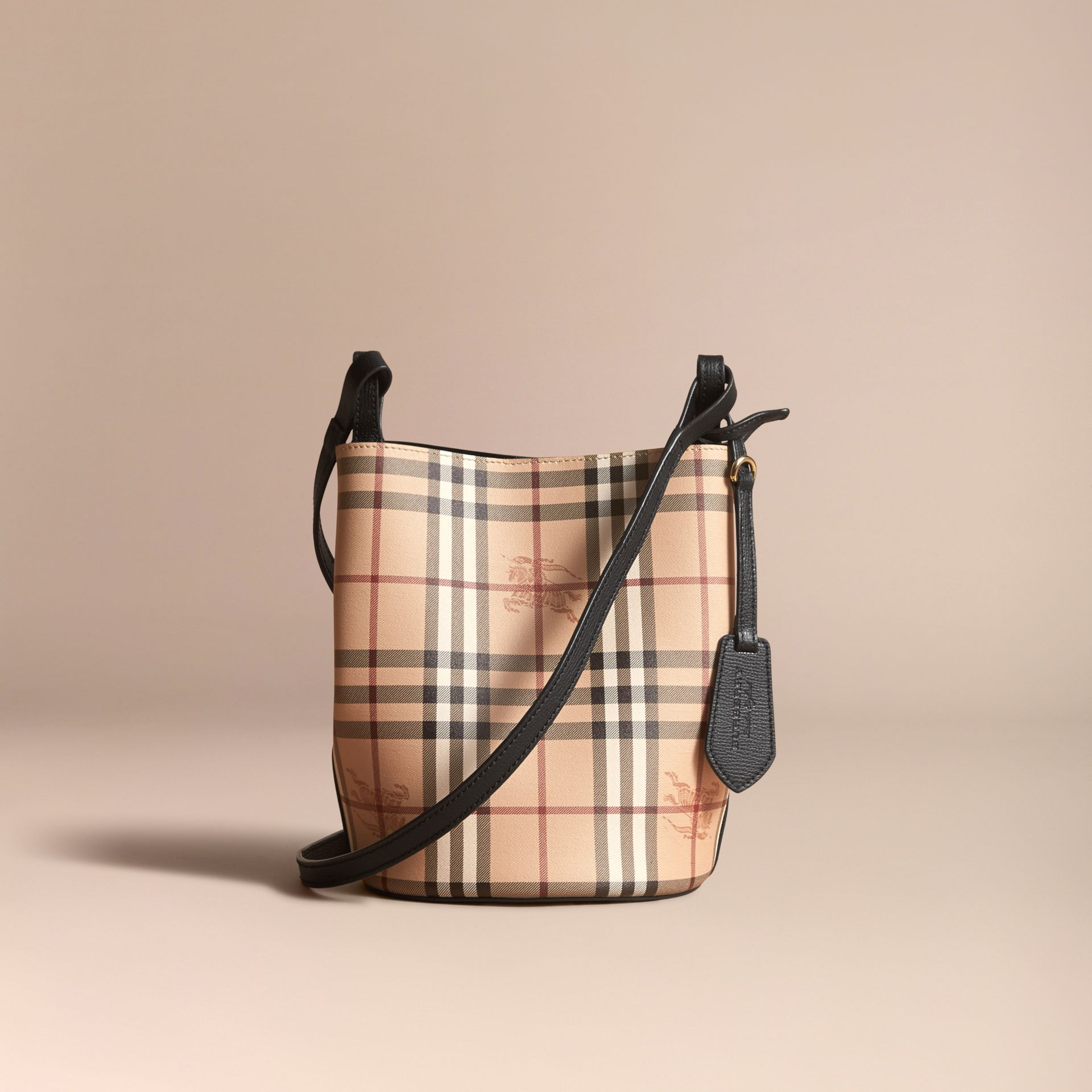 Leather and Haymarket Check Crossbody Bucket Bag in Black - Women | Burberry - gallery image 7