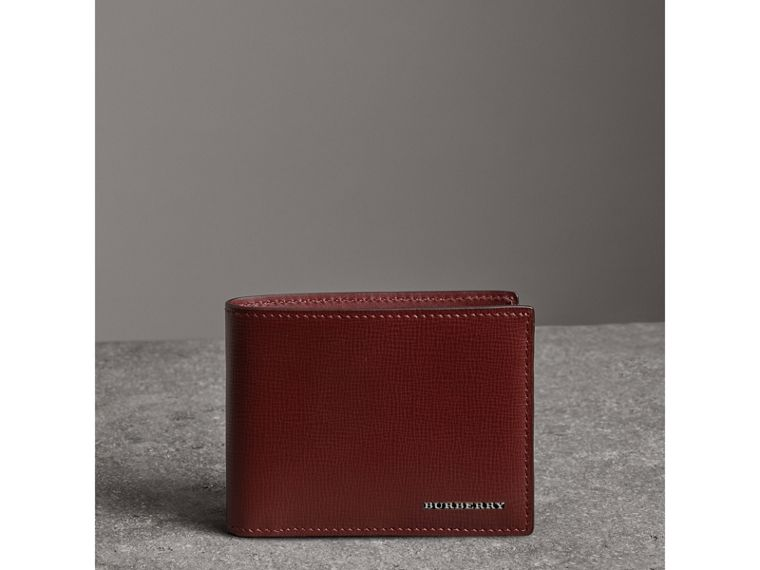 London Leather Bifold Wallet in Burgundy Red - Men | Burberry United States - cell image 4