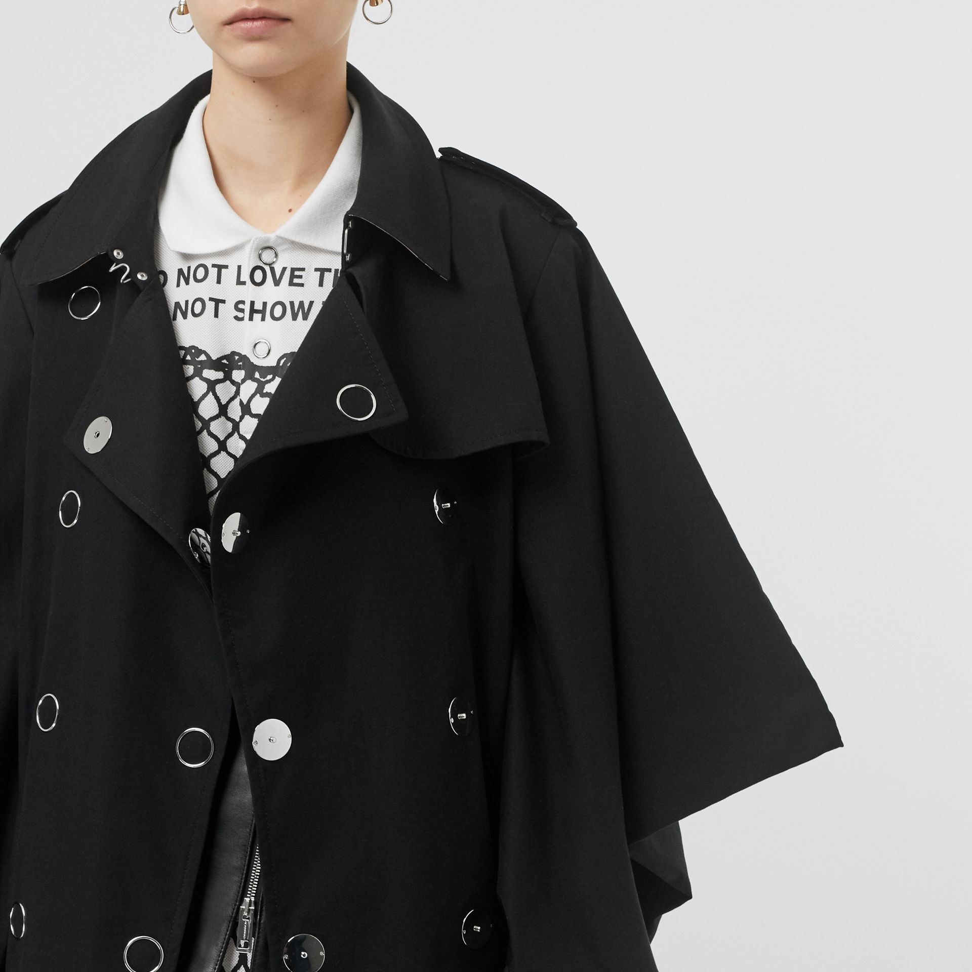 Cape-style Sleeve Cotton Gabardine Trench Coat in Black - Women | Burberry Singapore - gallery image 7