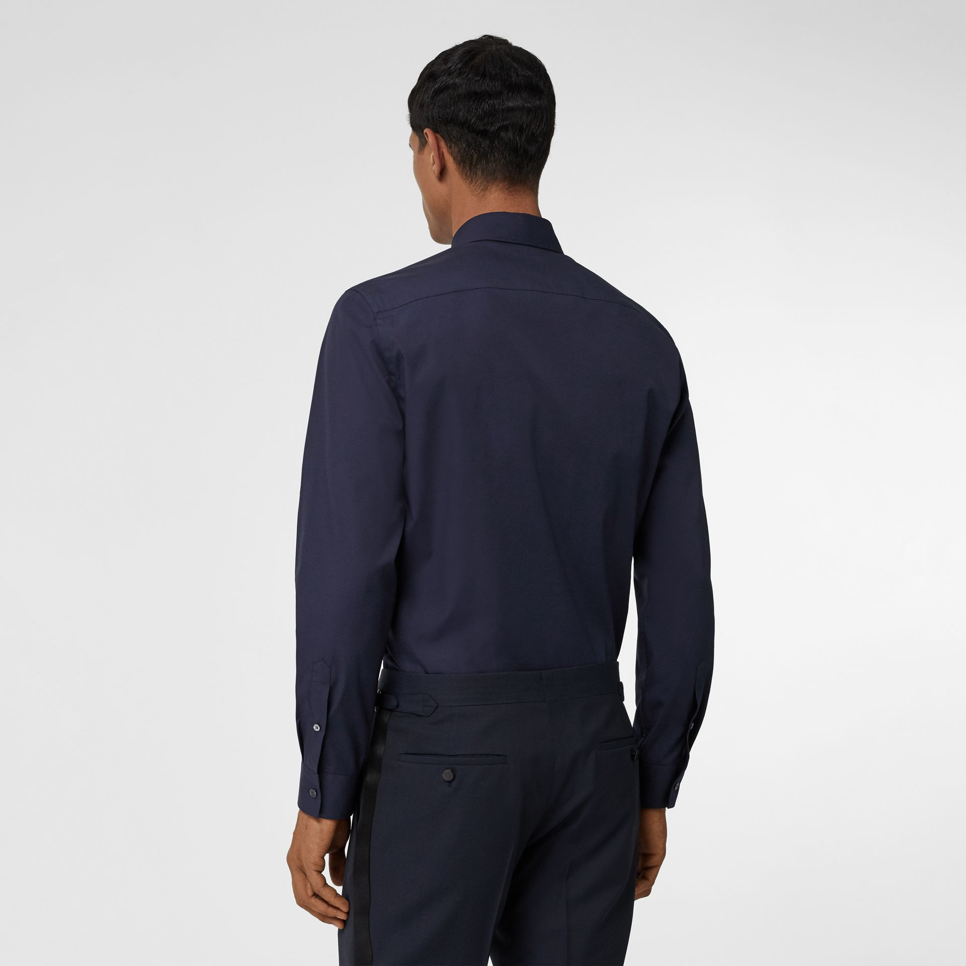 Monogram Motif Stretch Cotton Poplin Shirt in Navy - Men | Burberry - gallery image 2