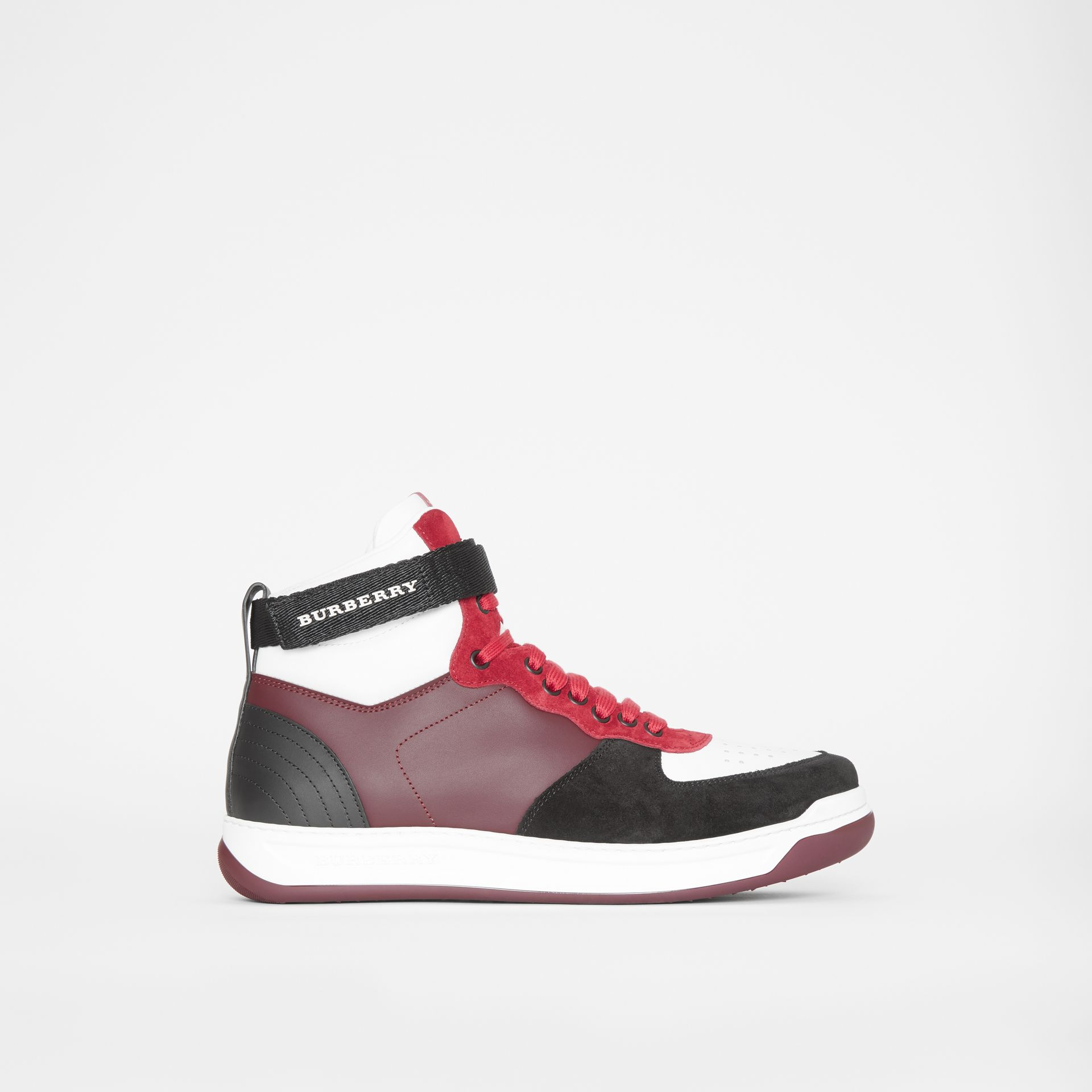 Leather and Suede High-top Sneakers in Burgundy Red - Men | Burberry - gallery image 5