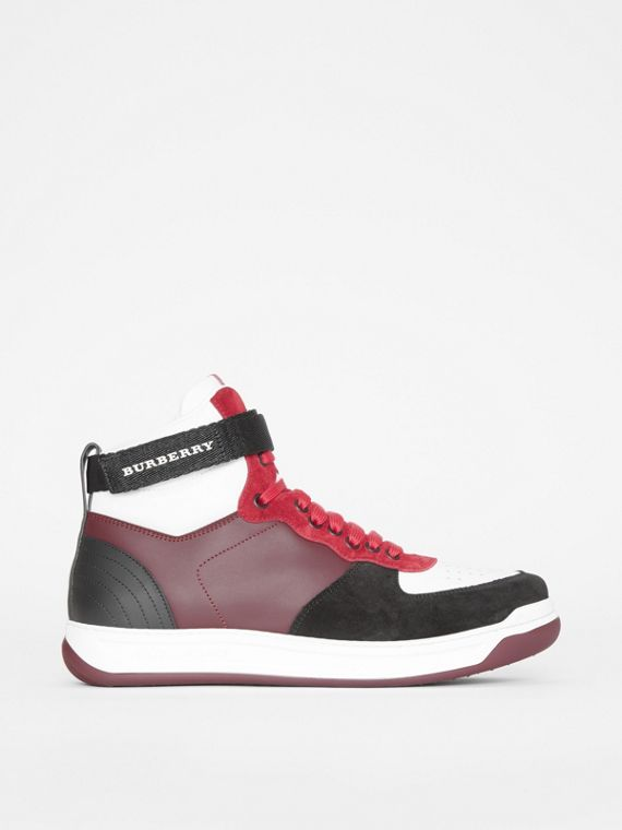 Leather and Suede High-top Sneakers in Burgundy Red