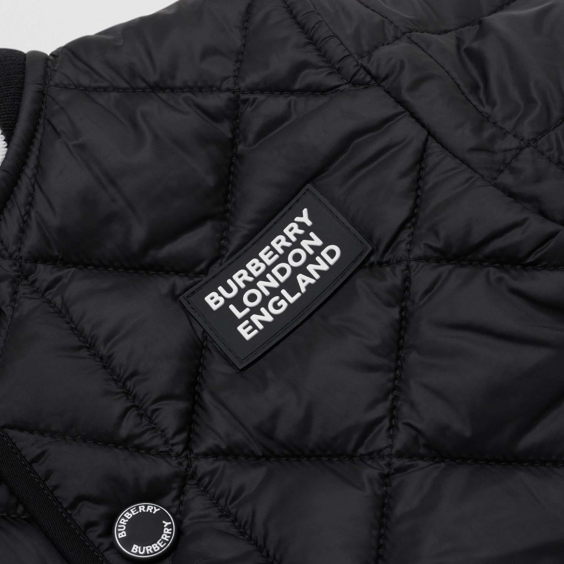 Recycled Polyester Diamond Quilted Jacket in Black - Children | Burberry United Kingdom - gallery image 1