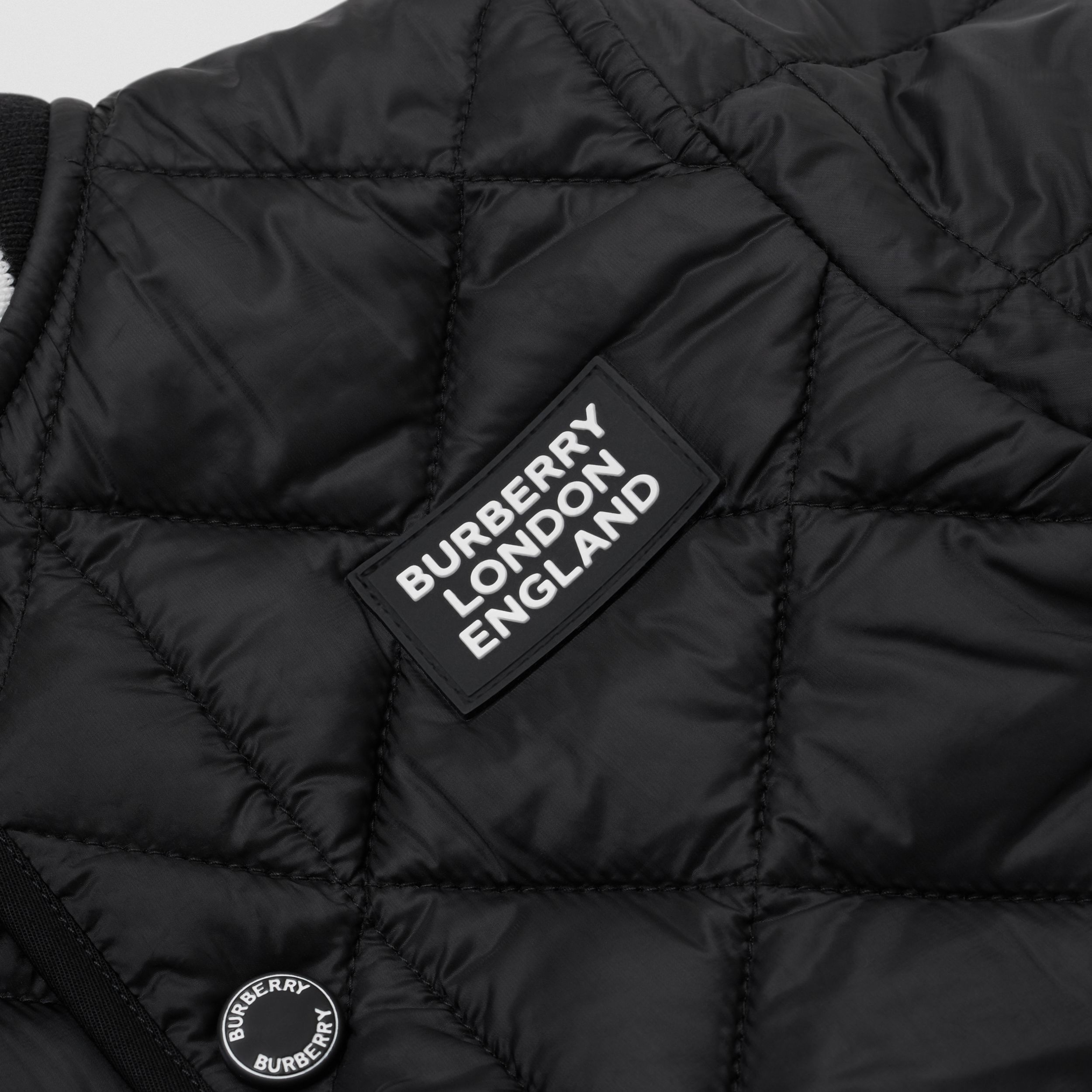 Recycled Polyester Diamond Quilted Jacket in Black - Children | Burberry - 2