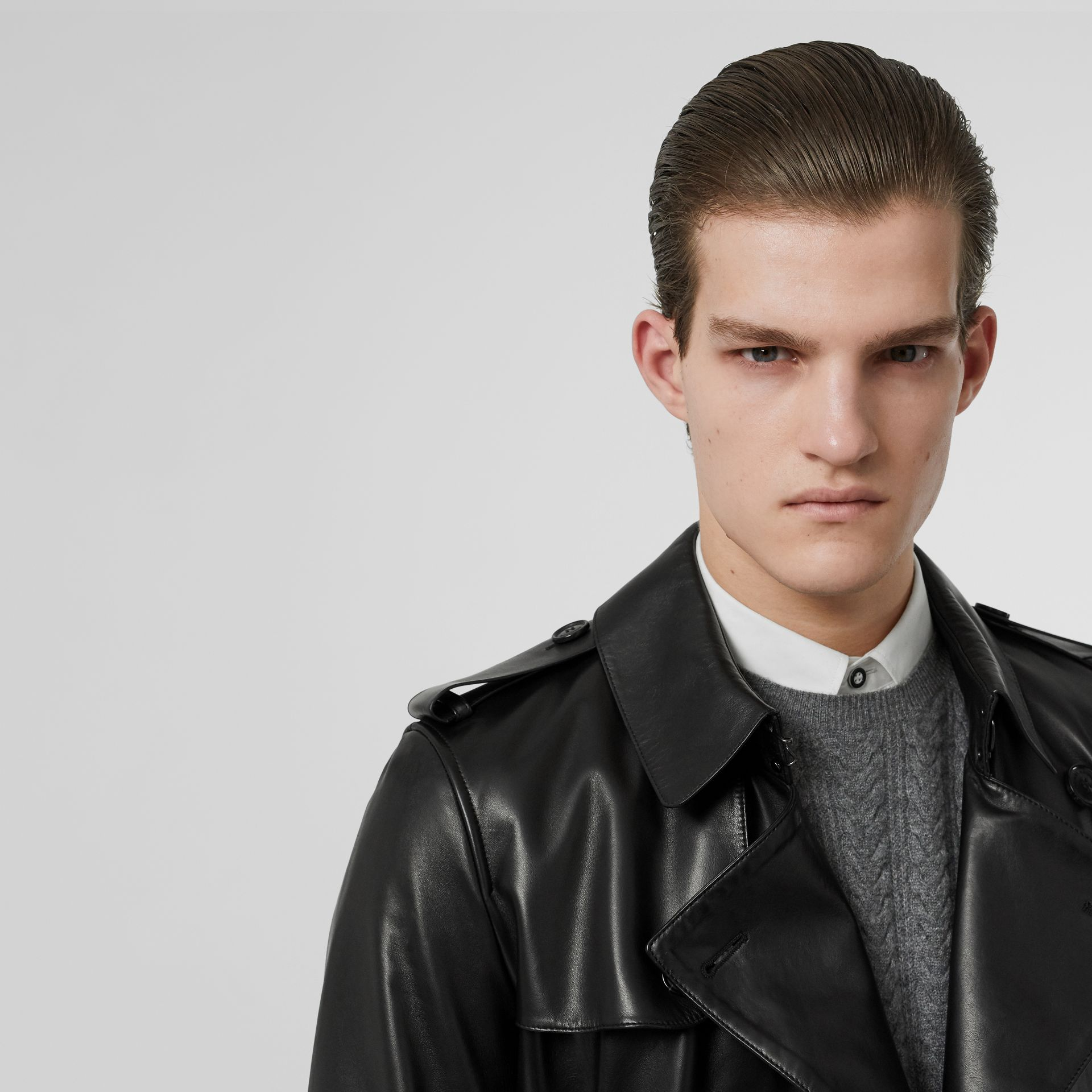 Lambskin Trench Coat in Black - Men | Burberry Singapore - gallery image 1