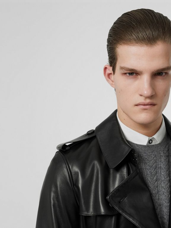 Lambskin Trench Coat in Black - Men | Burberry United States - cell image 1
