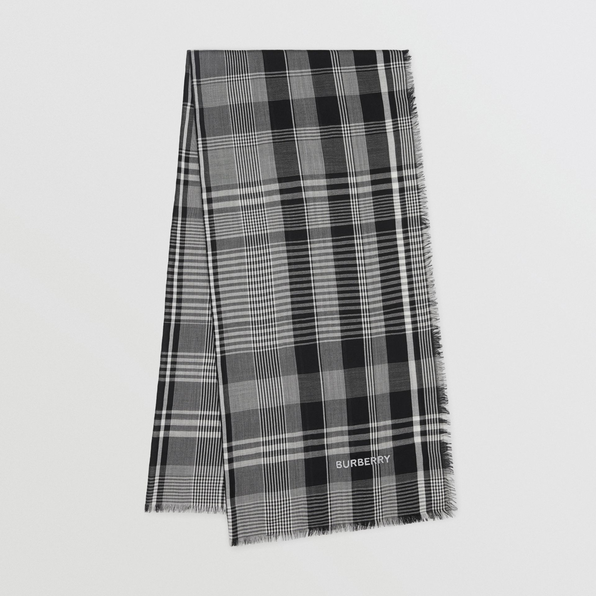 Logo Embroidered Lightweight Check Cashmere Scarf in Black/white | Burberry - gallery image 0