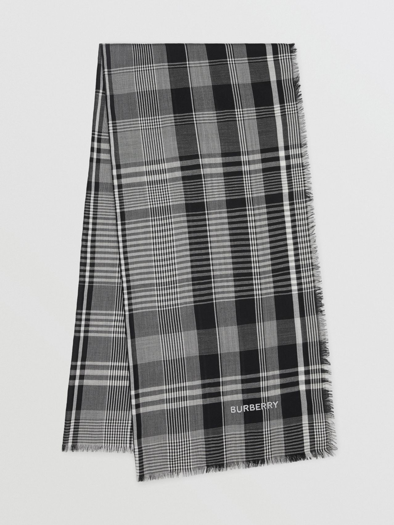 Logo Embroidered Lightweight Check Cashmere Scarf (Black/white)