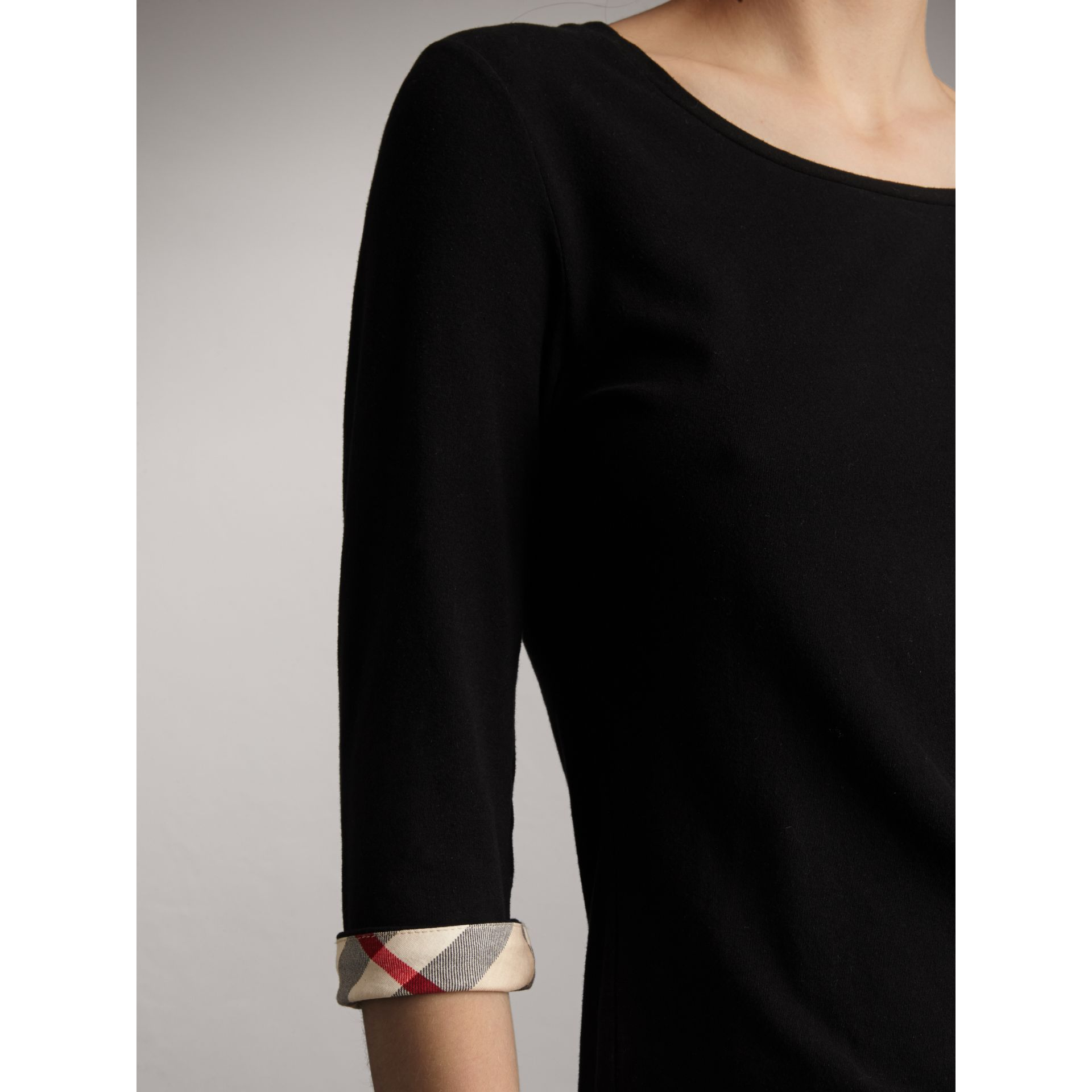 Check Cuff Stretch-Cotton Top in Black - Women | Burberry Singapore - gallery image 1