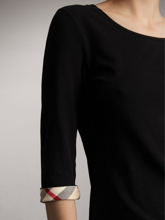 Check Cuff Stretch-Cotton Top in Black - Women | Burberry Singapore - cell image 1
