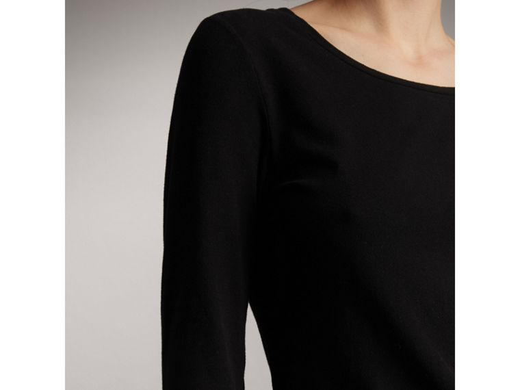 Check Cuff Stretch-Cotton Top in Black - Women | Burberry Hong Kong - cell image 1