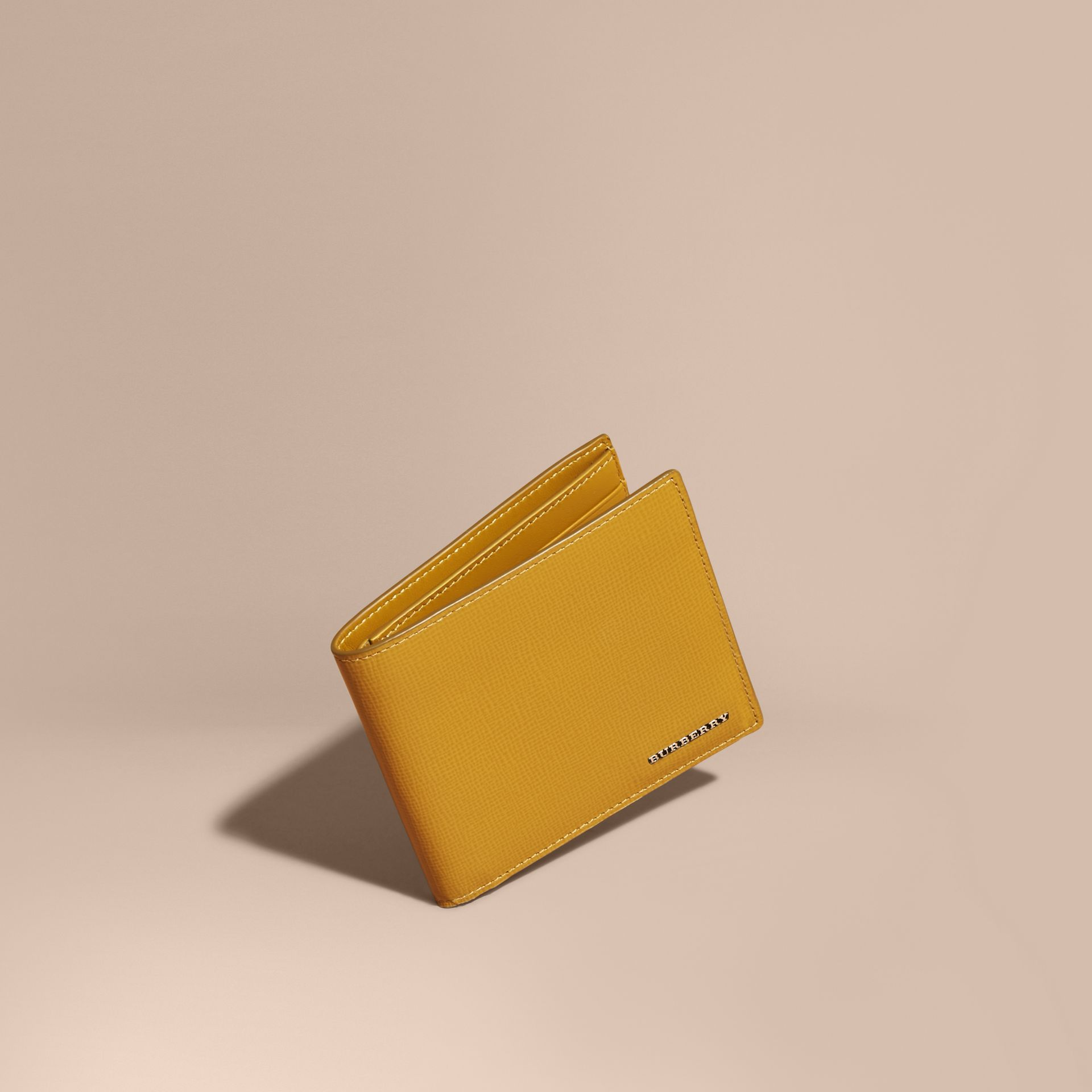 London Leather Folding Wallet Larch Yellow - gallery image 1