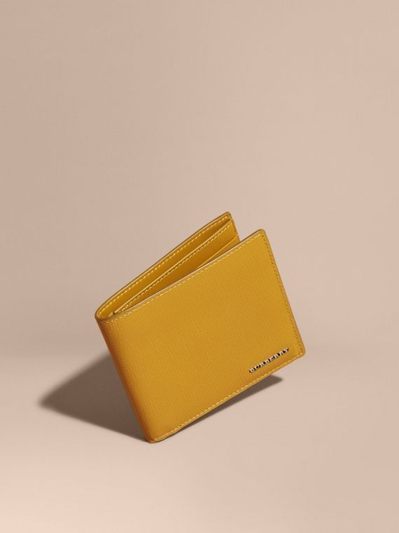 London Leather Folding Wallet Larch Yellow