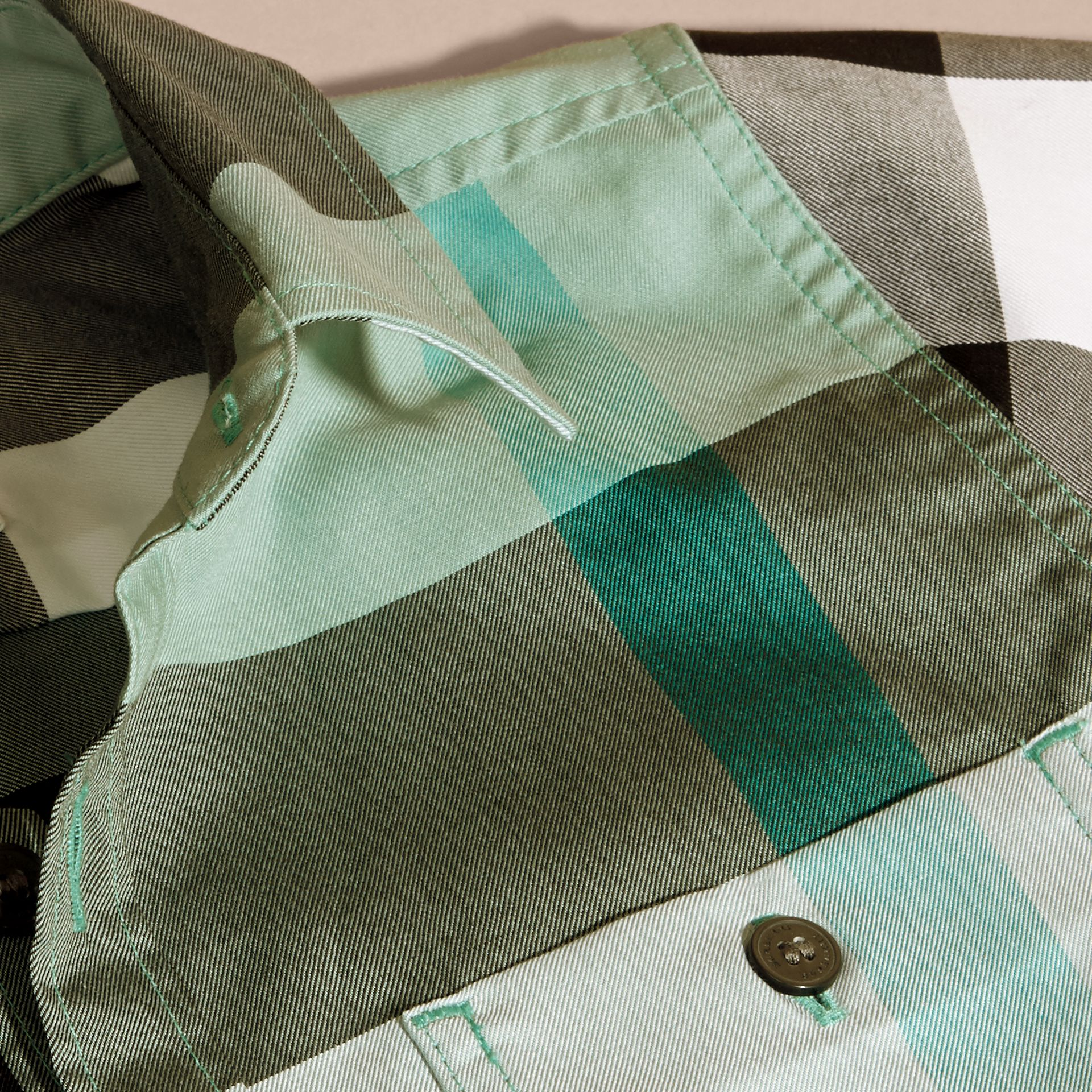 Short-sleeve Check Cotton Shirt in Eucalyptus - gallery image 2