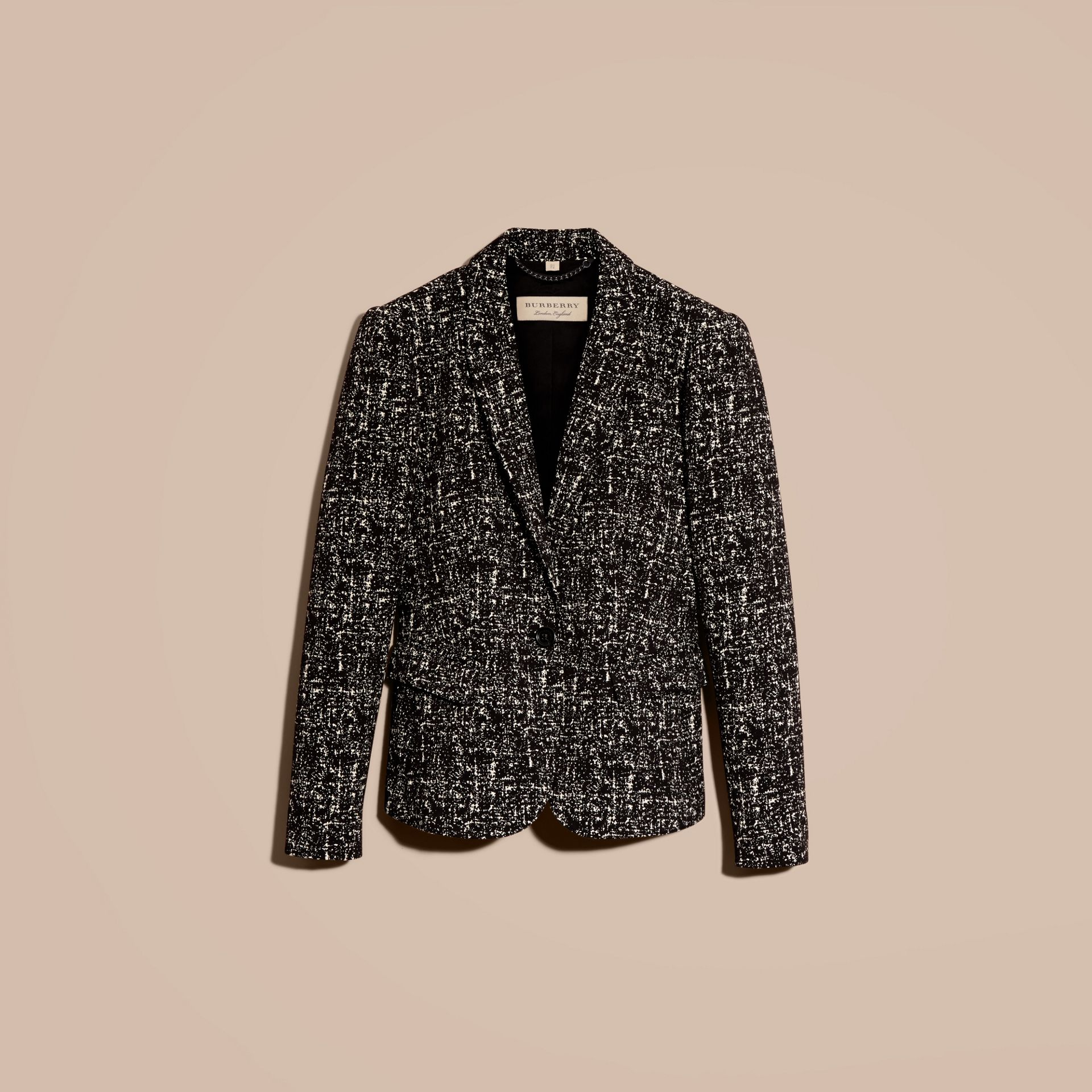 Black/white Tailored Wool Blend Tweed Jacket - gallery image 4