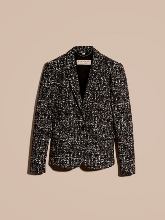 Black/white Tailored Wool Blend Tweed Jacket - cell image 3