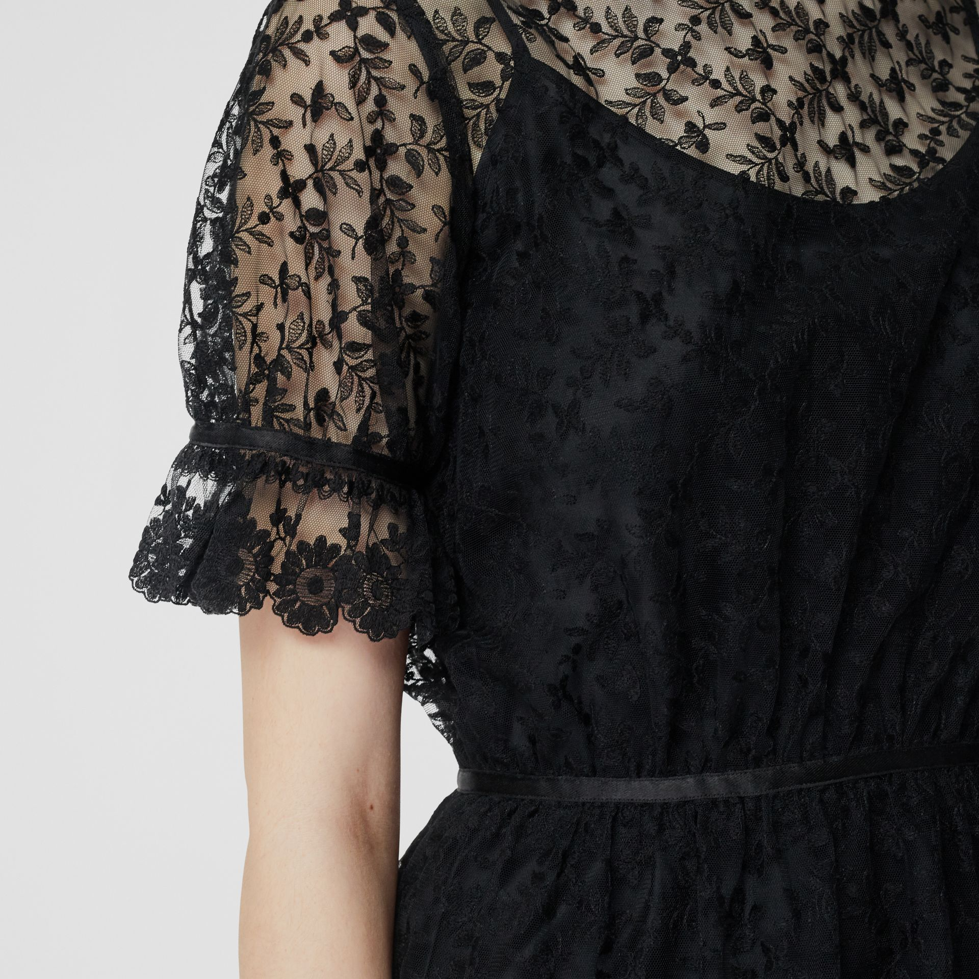 Floral Embroidered Tulle Dress in Black - Women | Burberry - gallery image 4