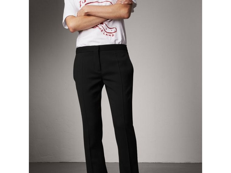 Wool Tailored Trousers in Black - Women | Burberry - cell image 4