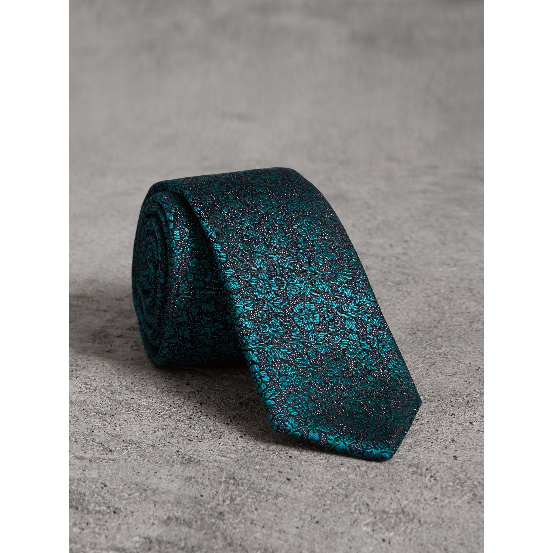 Slim Cut Floral Jacquard Silk Tie in Dark Teal - Men | Burberry - gallery image 0