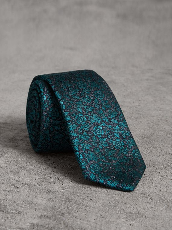 Slim Cut Floral Jacquard Silk Tie in Dark Teal