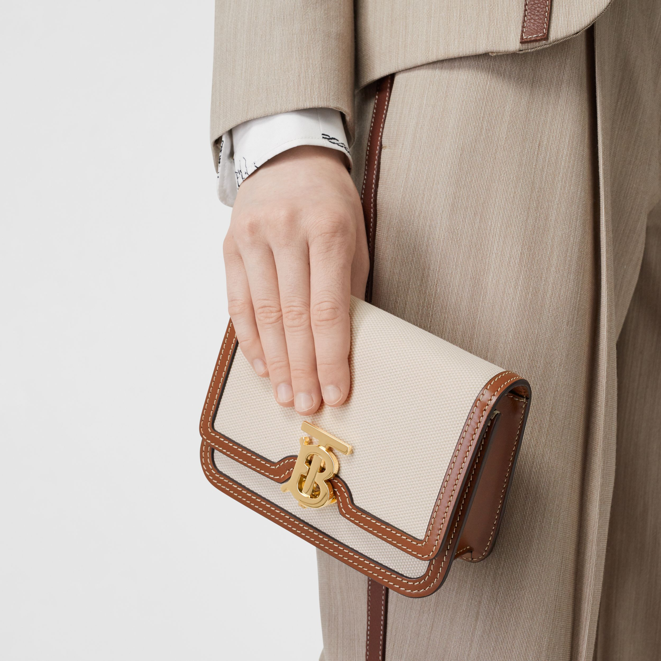 Mini Two-tone Canvas and Leather TB Bag in Natural/malt Brown - Women | Burberry - 3