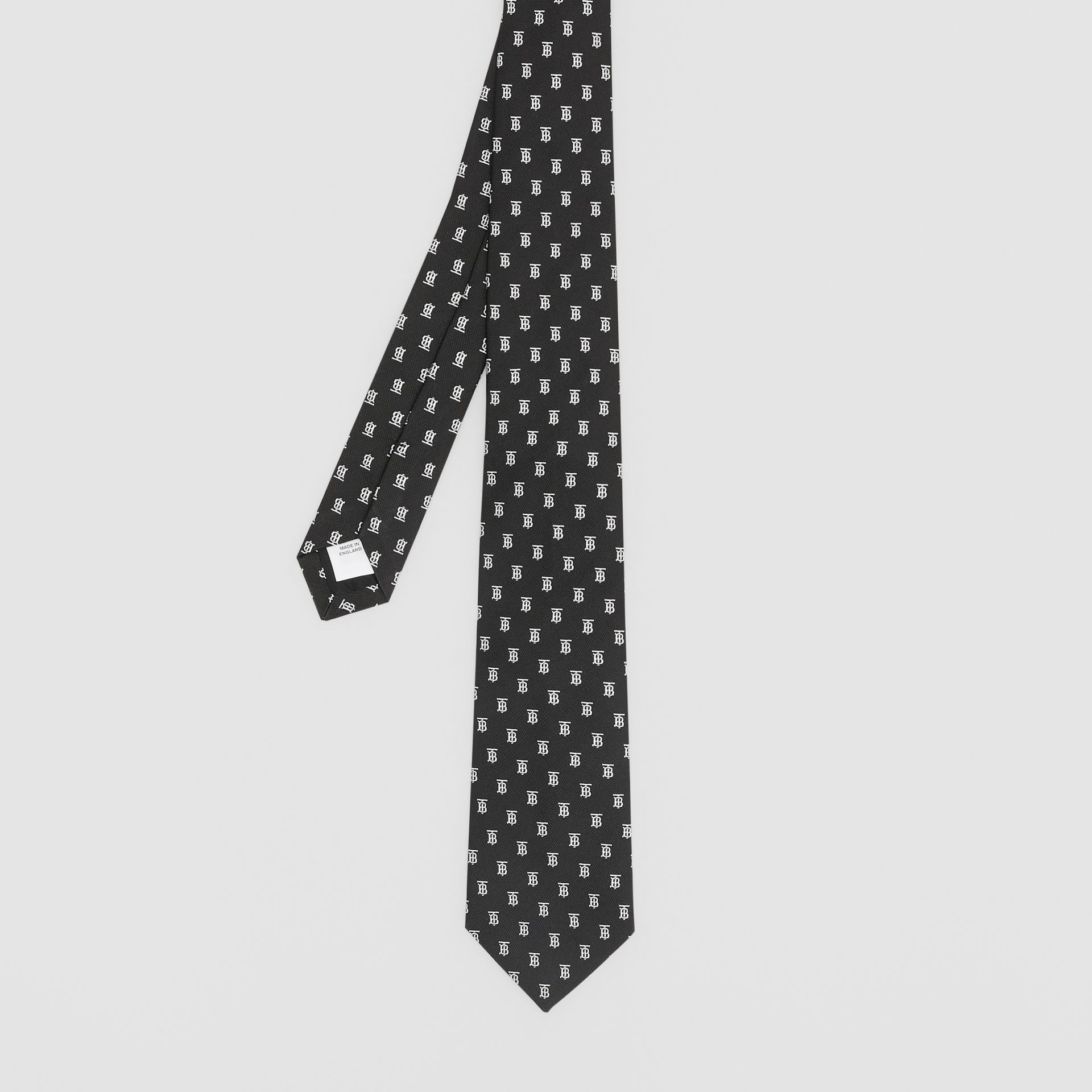 Classic Cut Monogram Motif Silk Jacquard Tie in Black - Men | Burberry - gallery image 4