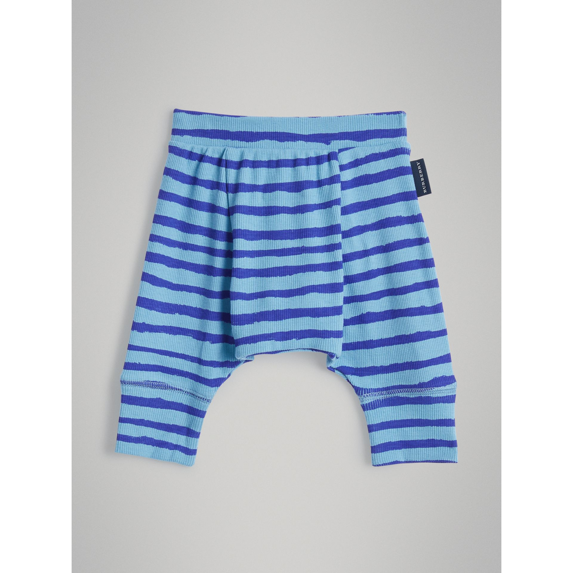 Striped Cotton Two-piece Baby Gift Set in Teal | Burberry - gallery image 5